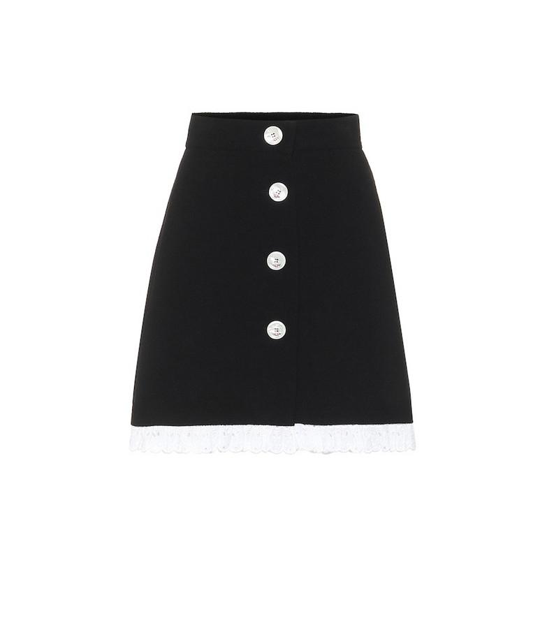 Miu Miu Wool and silk miniskirt in black