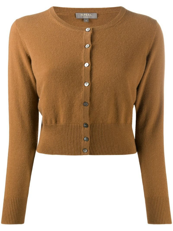 N.Peal cropped cashmere cardigan in brown