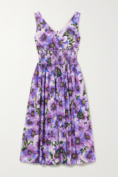 Dolce & Gabbana - Shirred Floral-print Cotton-poplin Midi Dress - Purple