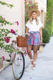 suburban faux-pas,blogger,hat,shirt,shorts,shoes,bag,wedges,espadrilles,plaid shirt,summer bag,summer outfits