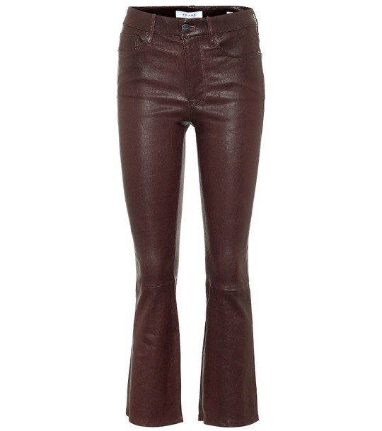 Frame Le Mini Boot leather pants in brown