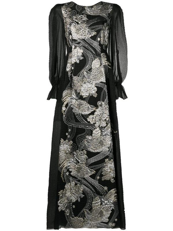 Alberta Ferretti appliquéd poet-sleeve gown in black