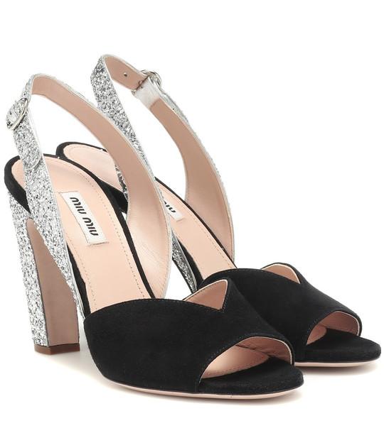 Miu Miu Glitter suede slingback sandals in black