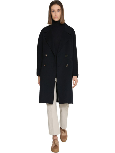 MAX MARA 'S Double Breasted Short Wool Coat in blue