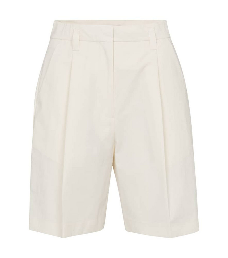 Low classic High-rise cotton-blend shorts in white