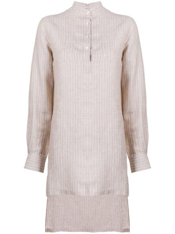 Eleventy Corean step-hem pinstriped shirt in neutrals