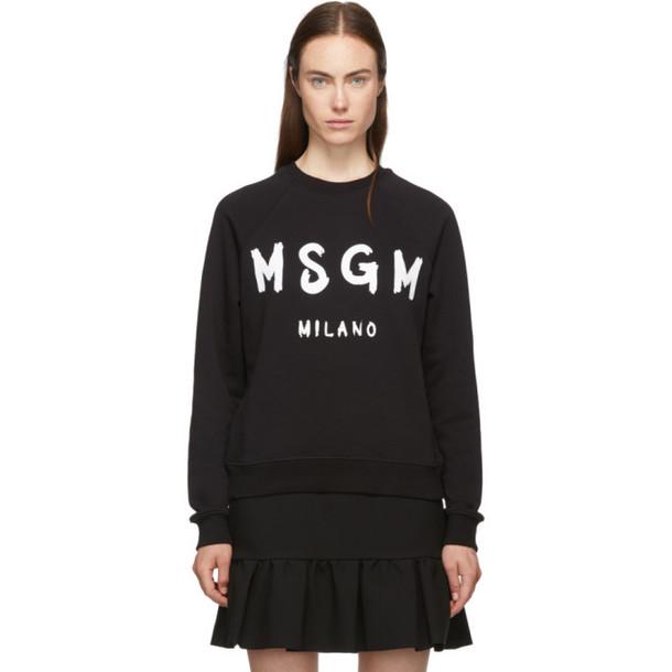 MSGM Black Paint Brushed Logo Sweatshirt