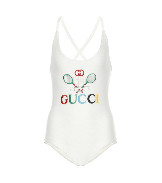 Gucci Embroidered one-piece swimsuit in white