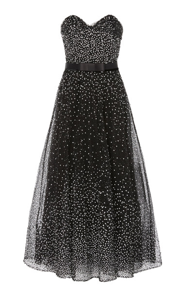 Marchesa Strapless Sequined Tulle Midi Dress in black