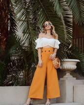 pants,wide-leg pants,high waisted pants,sandals,brown bag,white top,cropped,white blouse