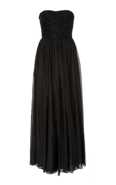 Brock Collection Bustier Cotton Silk Maxi Dress in black
