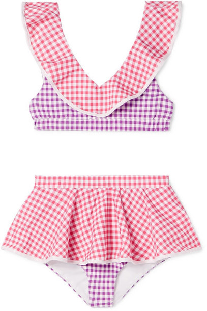 Marysia Kids - Piana Ruffled Patchwork Gingham Stretch-crepe Bikini - Pink