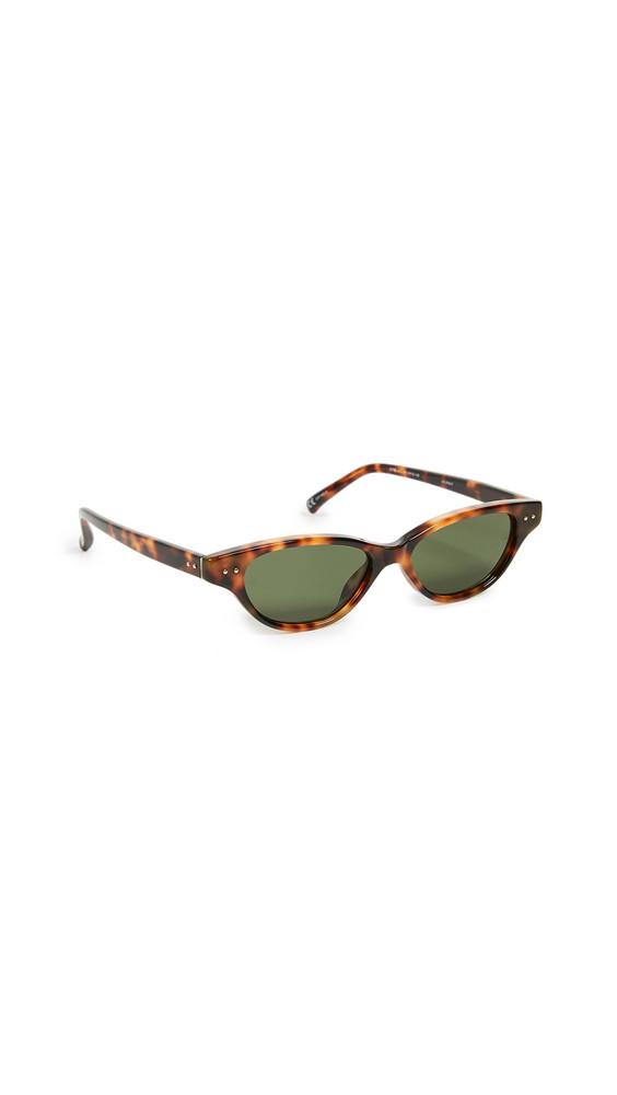 Linda Farrow Luxe Acetate Cat Eye Sunglasses in gold / green / yellow