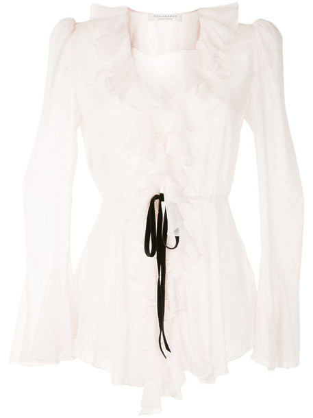PHILOSOPHY ruffle-trim sheer blouse in pink