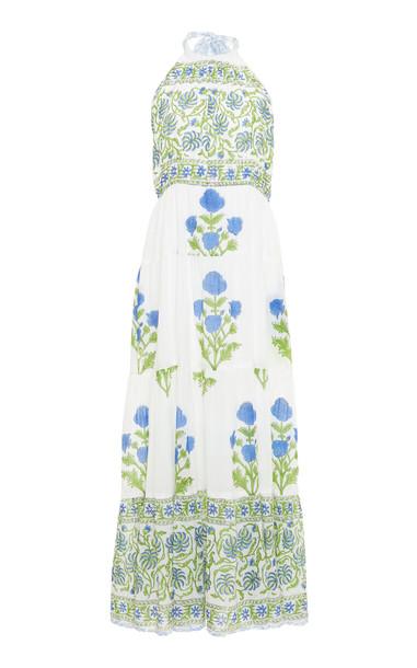 Juliet Dunn Printed Cotton Halter Dress in white