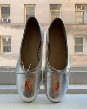 shoes,metallic shoes,silver,ballet flats