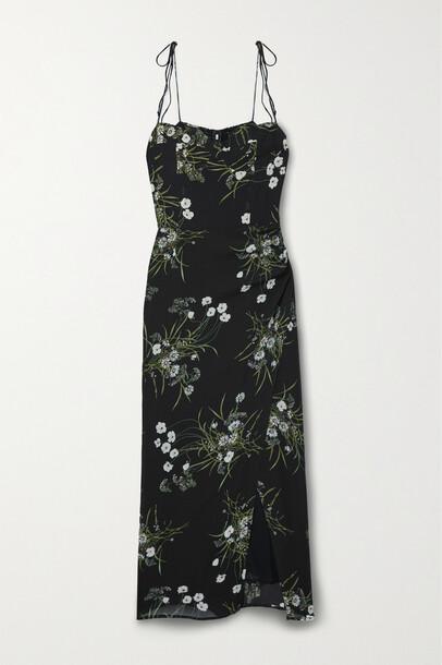 Reformation - Kourtney Floral-print Georgette Midi Dress - Black