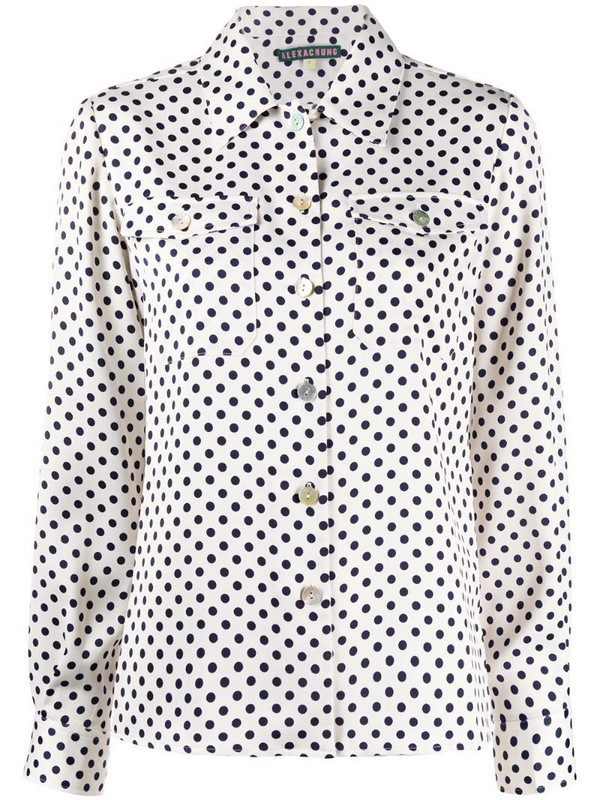 Alexa Chung polka-dot patch pocket shirt in neutrals