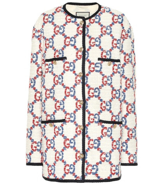 Gucci Oversized GG Sylvie tweed jacket in white