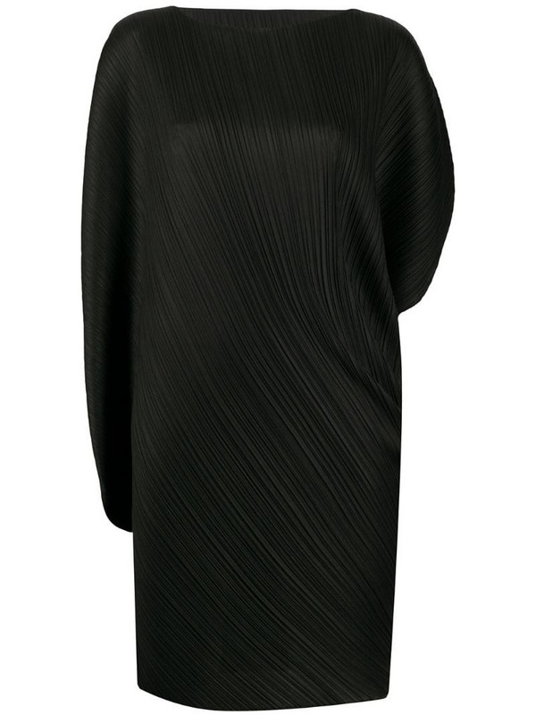 Pleats Please Issey Miyake curved asymmetric sleeve pleated dress in black