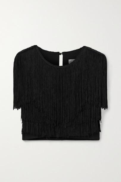 Miguelina - Adisa Cropped Fringed Jersey Top - Black