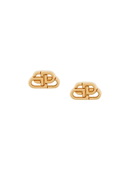 Balenciaga monogram stud earrings in gold
