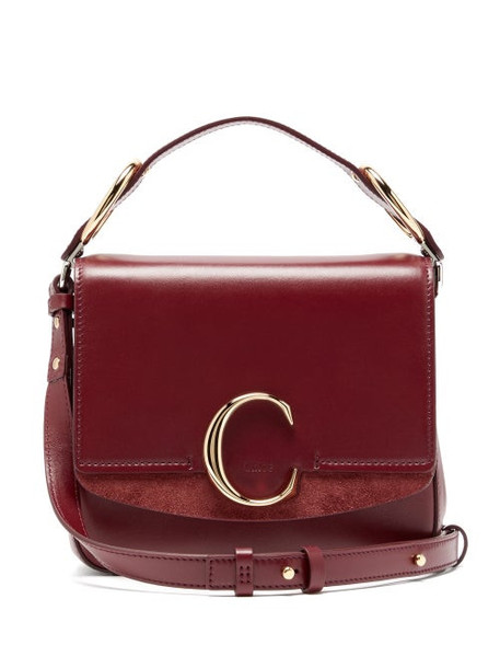 Chloé Chloé - The C Mini Leather Cross Body Bag - Womens - Burgundy