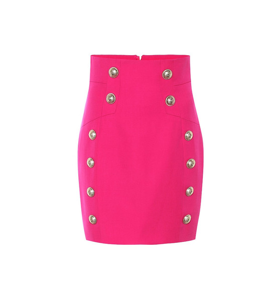 Balmain High-rise wool miniskirt in pink