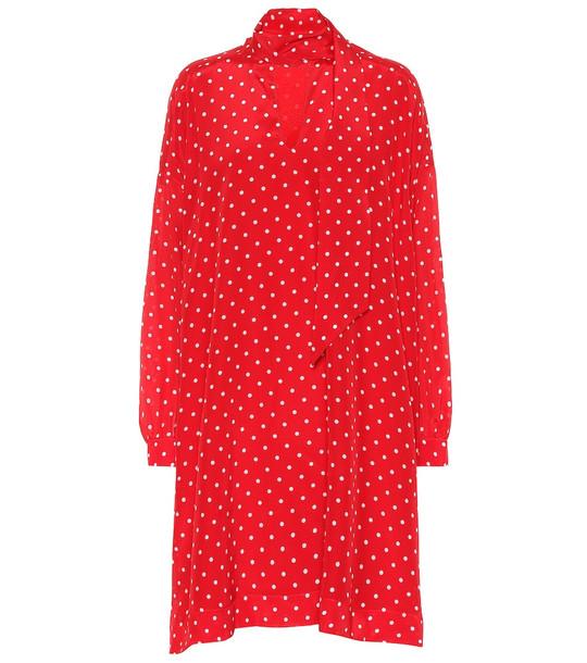 Balenciaga Polka-dot silk dress in red