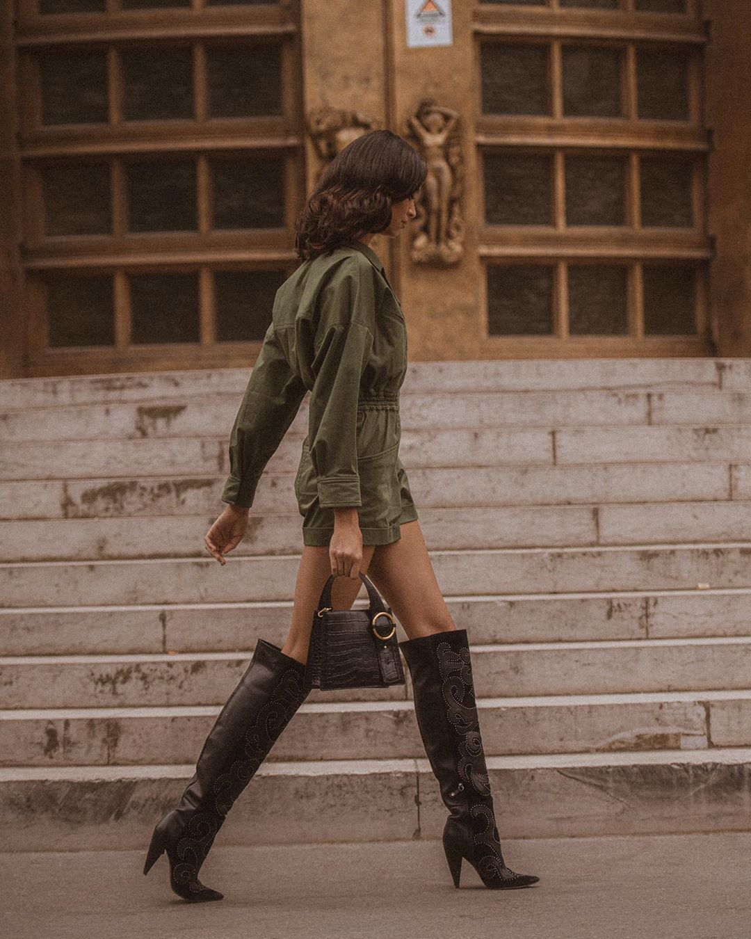 romper long sleeves knee high boots handbag