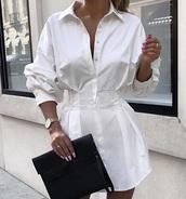 dress,white,shirt dress,white dress,blouse,black,casual,chic,business casual,women's dress,fashion,outfit