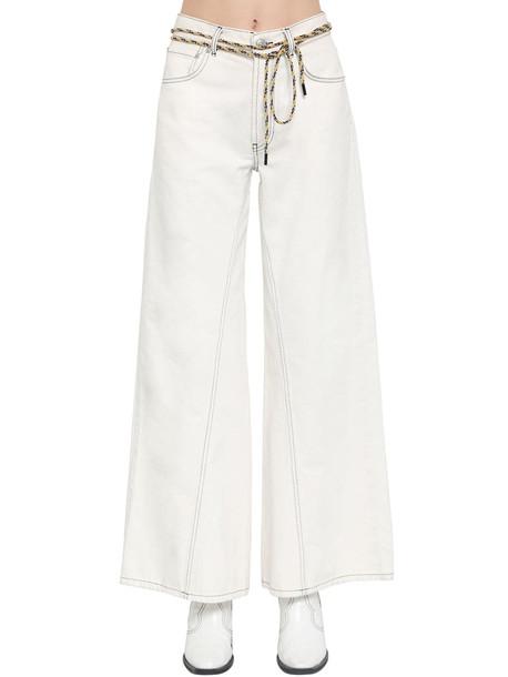 GANNI Wide Leg Cotton Denim Pants in white