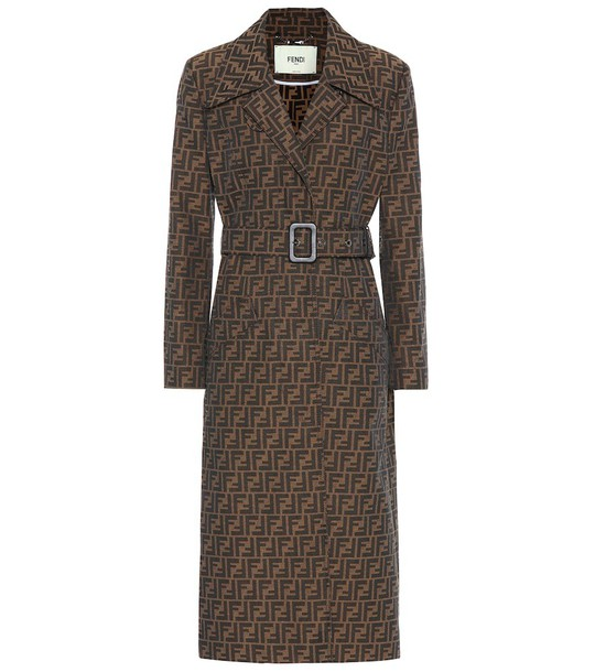 Fendi FF canvas trench coat in brown