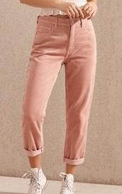 pants,girly,girl,girly wishlist,pink,corduroy