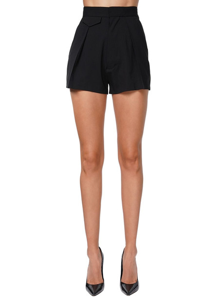 DSQUARED2 High Waist Stretch Wool Gabardine Shorts in black