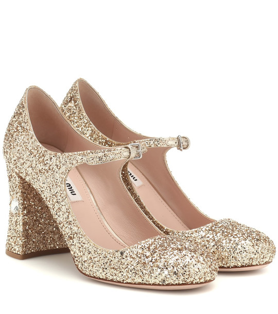 Miu Miu Sequined Mary Jane pumps in gold