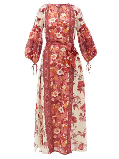 D'ascoli - Vista Belted Floral-print Cotton Dress - Womens - Red Print