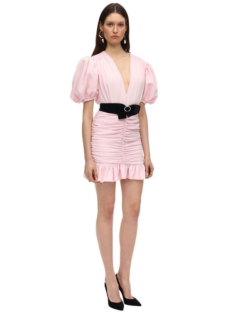 MARIANNA SENCHINA Crepe Mini Dress W/ Puff Sleeves in pink
