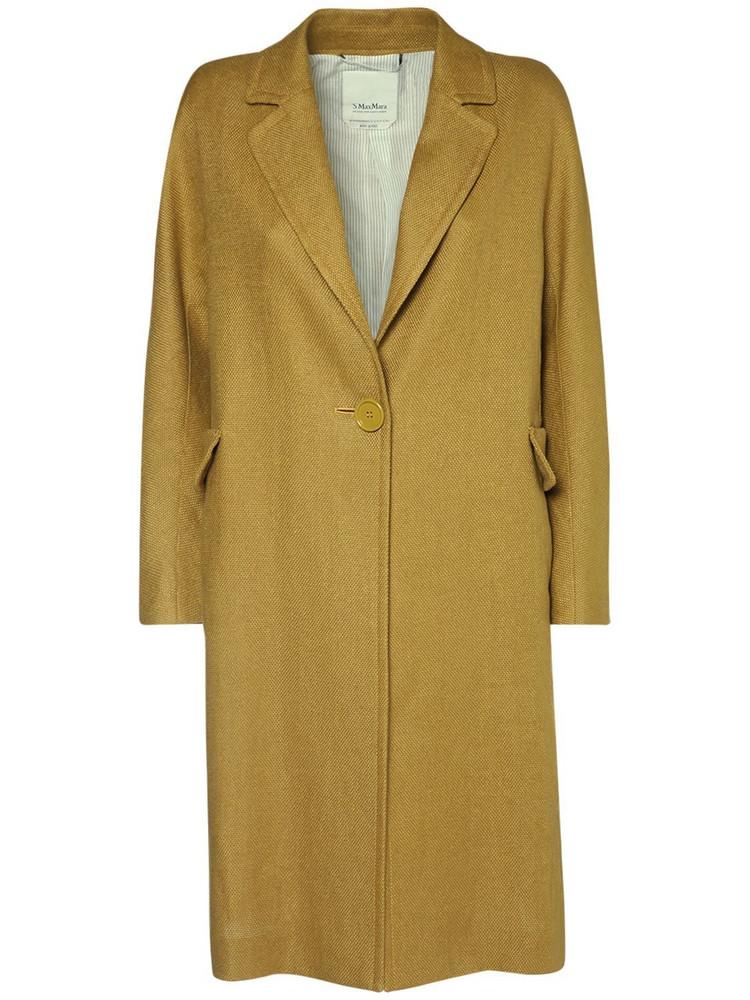 MAX MARA 'S Linen & Cotton Stretch Canvas Coat in yellow