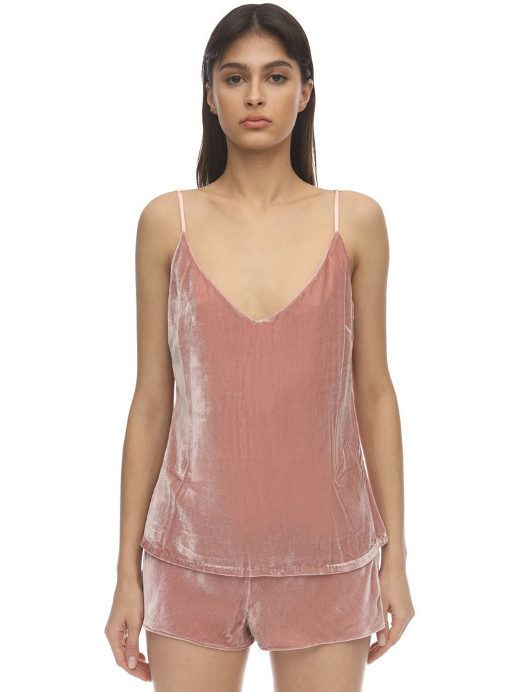 SLEEPING WITH JACQUES The Pm To Am Velvet Camisole Top in pink