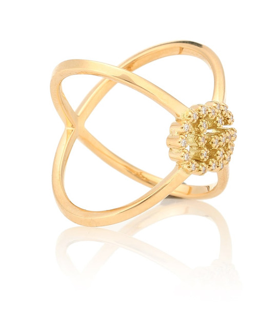 Gucci GG Running X 18kt gold ring with diamonds