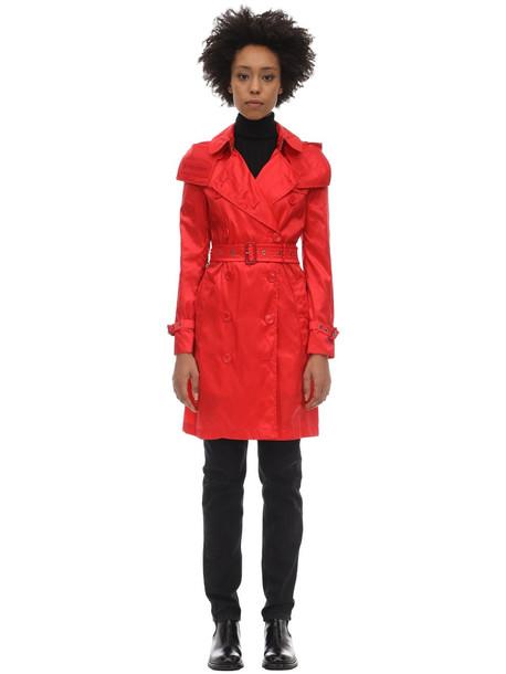 BURBERRY Kensington Hooded Nylon Trench Coat in red