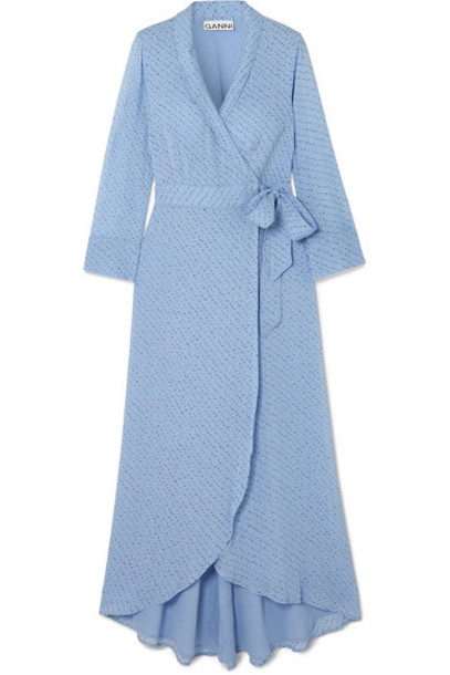 GANNI - Printed Georgette Wrap Midi Dress - Light blue