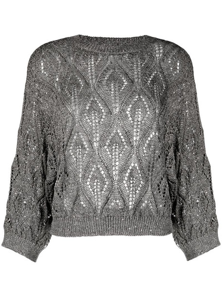 Brunello Cucinelli Dazzling linen-blend jumper in grey