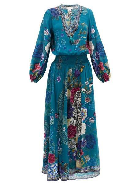 Camilla - Lunar Gazing-print Silk-crepe Maxi Dress - Womens - Green Print