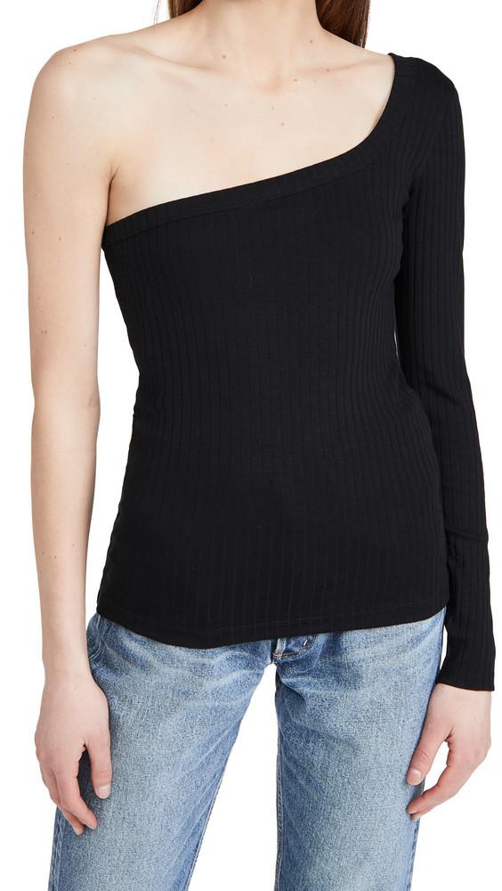 Ninety Percent One Shoulder Rib Top in black