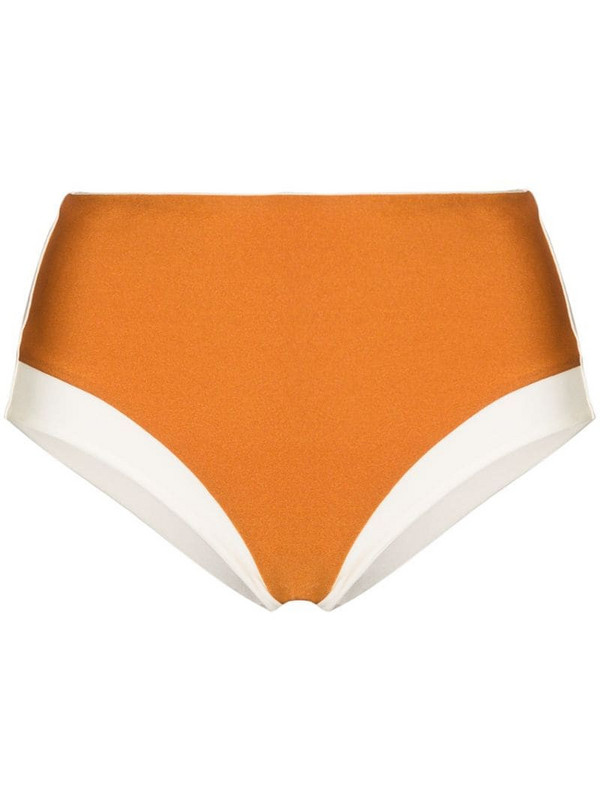 Odyssee high-waisted two-tone bikini bottoms in neutrals