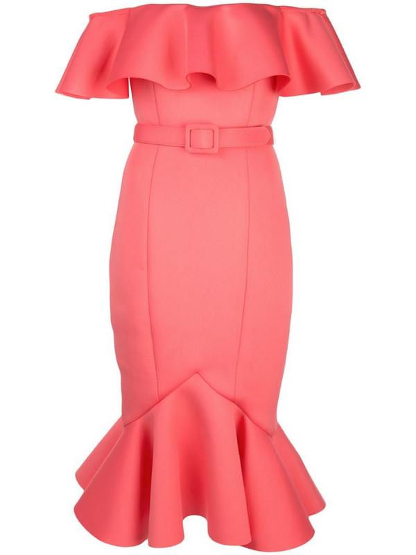 Badgley Mischka off-shoulder ruffle dress in pink