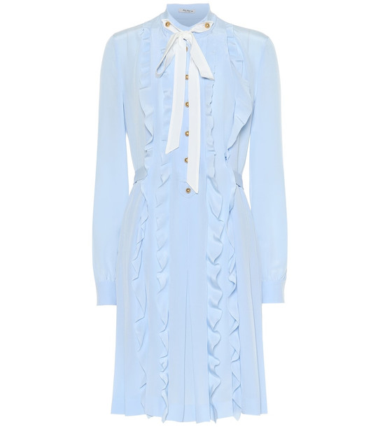 Miu Miu Ruffled silk midi dress in blue