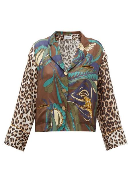 La Prestic Ouiston - Botanical & Leopard Print Silk Twill Blouse - Womens - Brown Multi